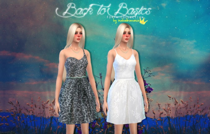 Sims 4 Dresses, denim skirt, cropped tank & sweater at In a bad Romance