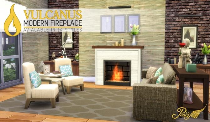 Sims 4 Vulcanus Modern Fireplace at Simsational Designs