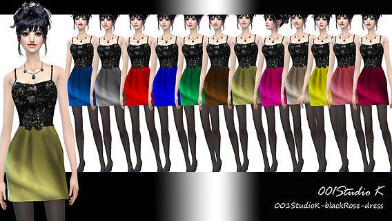 Sims 4 Black Rose party dress at Studio K Creation