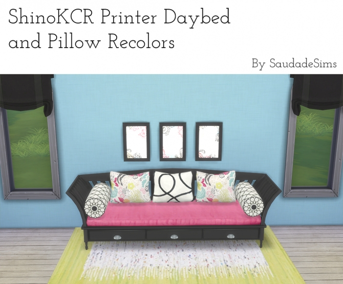 Sims 4 ShinoKCR's Daybed and Pillows recolors at Saudade Sims