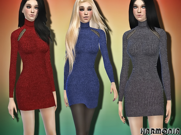 Sims 4 Wool Sweater Dress by Harmonia at TSR