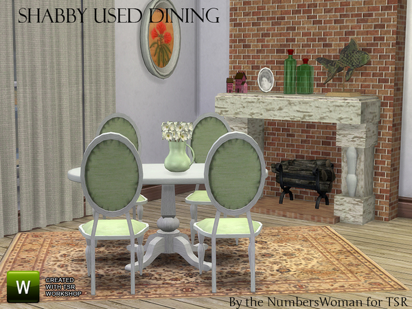 Sims 4 Shabby Bargain Chic Dining by TheNumbersWoman at TSR