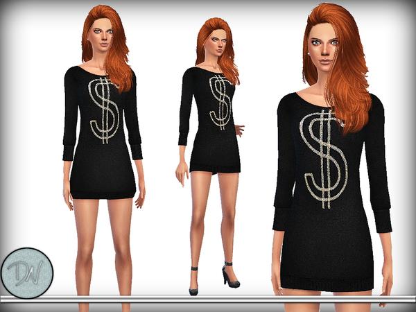 Sims 4 Embellished Wool Dress by DarkNighTt at TSR