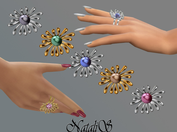 Pearl flower ring by NataliS at TSR image 2118 Sims 4 Updates