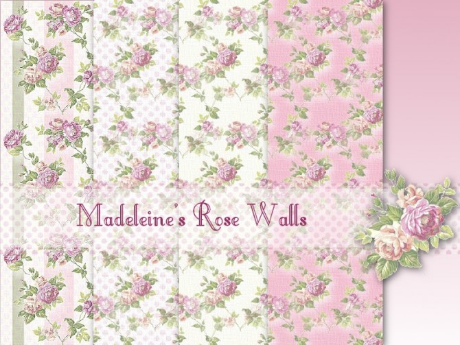 Sims 4 Madeleines Rose Walls by Christine at CC4Sims