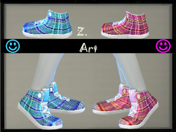 Checked Sneakers by Zuckerschnute20 at TSR image 2312 Sims 4 Updates