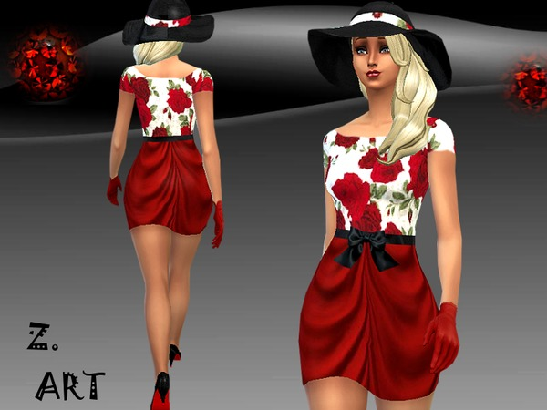 Sims 4 Lady In Red dress by Zuckerschnute20 at TSR