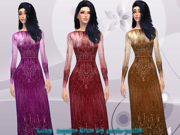 Long sequins dress by paulo paulol at TSR image 2412 Sims 4 Updates
