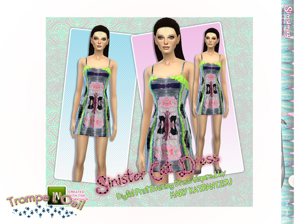 Sims 4 Trompe LOeil Dress by Simsimay at TSR