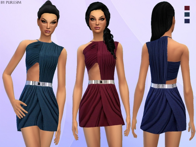 Draped cutout dress at Puresim image 2526 Sims 4 Updates