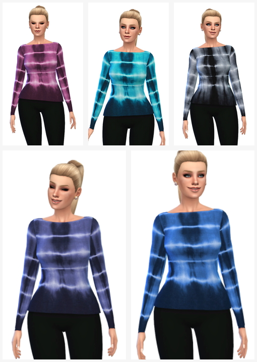 5 Tie Dye Backless Sweaters at Belle's Simblr image 2620 Sims 4 Updates