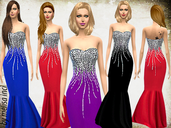 Sims 4 Stone Embroidered Mermaid Dress by melisa inci at TSR