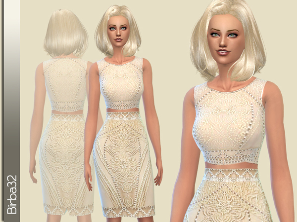 Cream Dress by Birba32 at TSR image 2815 Sims 4 Updates