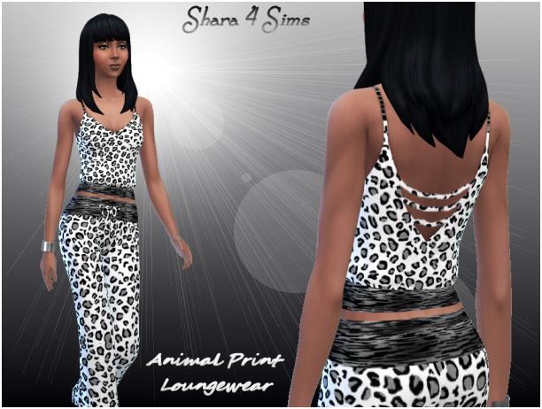 Sims 4 Animal Print Lounge Wear at Shara 4 Sims