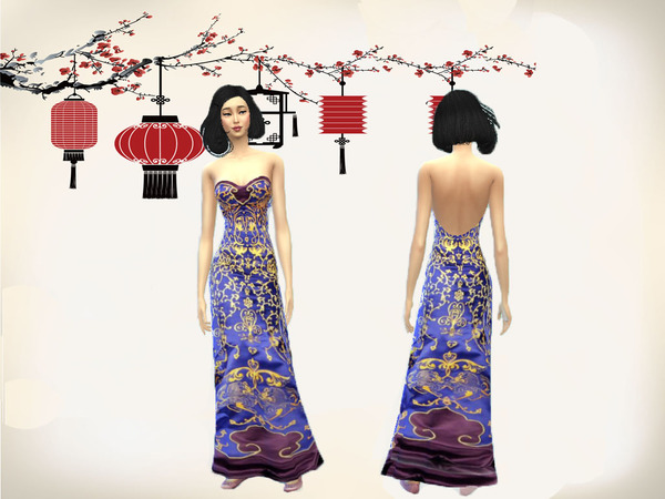 Sims 4 Chinese Style 2 dress by follia69 at TSR