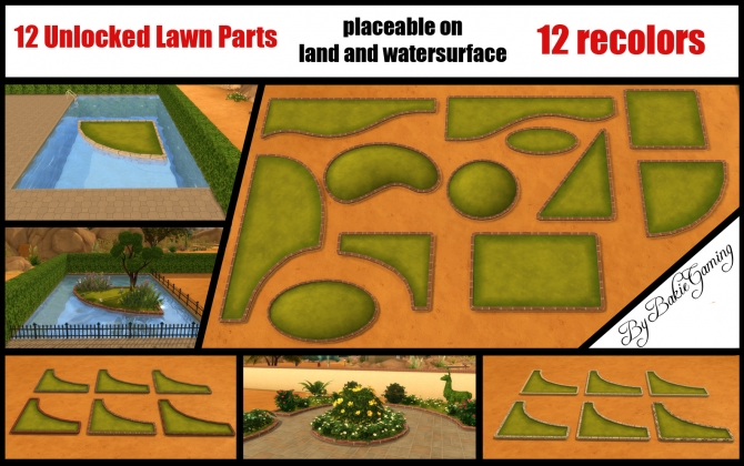 Unlocked Lawn Parts (12 parts) by Bakie at Mod The Sims image 3120 Sims 4 Updates