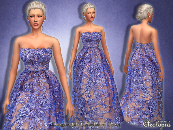 Designer Floral Embellished Gown by Cleotopia at TSR image 3219 Sims 4 Updates