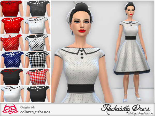 Sims 4 Rockabilly Dress v3 by Colores Urbanos at TSR