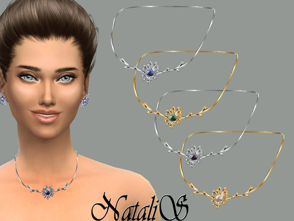 Sims 4 Flower perl necklace by NataliS at TSR