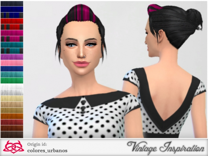 Sims 4 My everyday Pinup Hairstyle 02 by Colores Urbanos at TSR