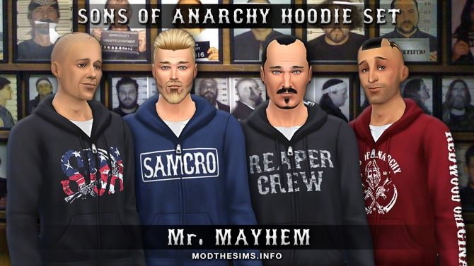 Sims 4 Sons of Anarchy Hoodie Zipper Set by Mr. Mayhem at Mod The Sims