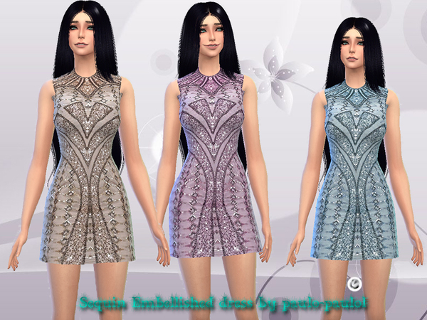 Sequin Embellished dress by paulo paulol at TSR image 397 Sims 4 Updates
