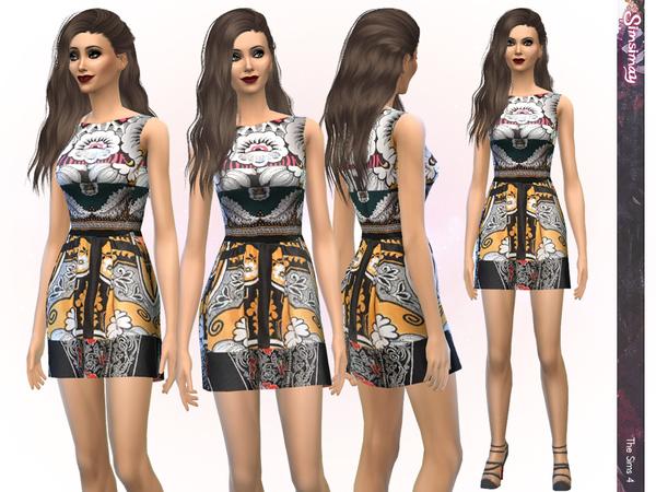 Sims 4 Designer Print Dress by Simsimay at TSR