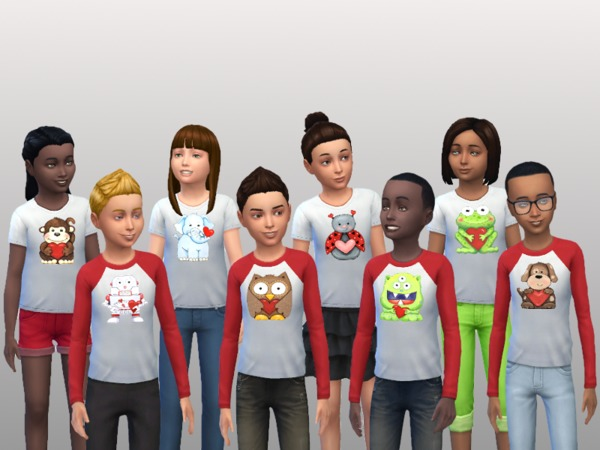 Sims 4 Kids Valentine Shirts by kmercer1 at TSR