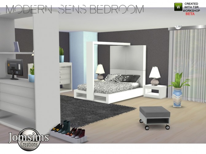 Modern sens bedroom at jomsims creations sims 4 updates for Salon moderne sims 4