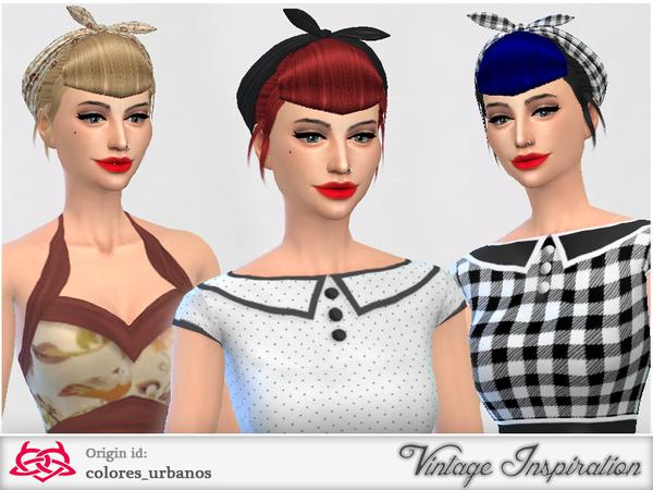 Sims 4 Set retro alternative hair bandana by Colores Urbanos at TSR