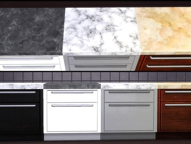 Marble kitchen set at tacha 75 sims 4 updates for Cc kitchen cabinets