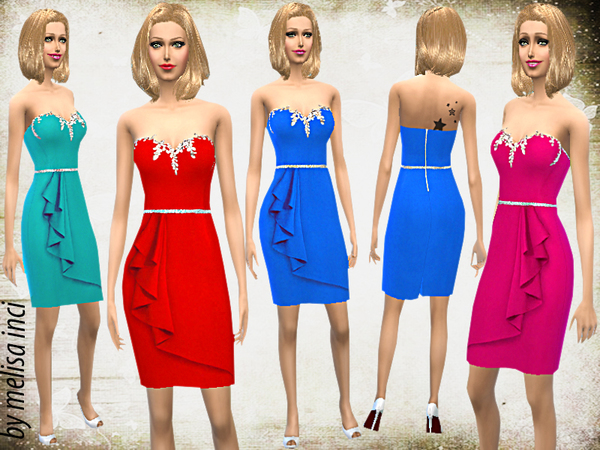 Sims 4 Strapless Stone Embroidered Dress by melisa inci at TSR