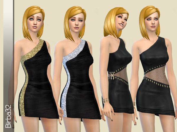 Asymmetric black dress by Birba32 at TSR image 50 Sims 4 Updates