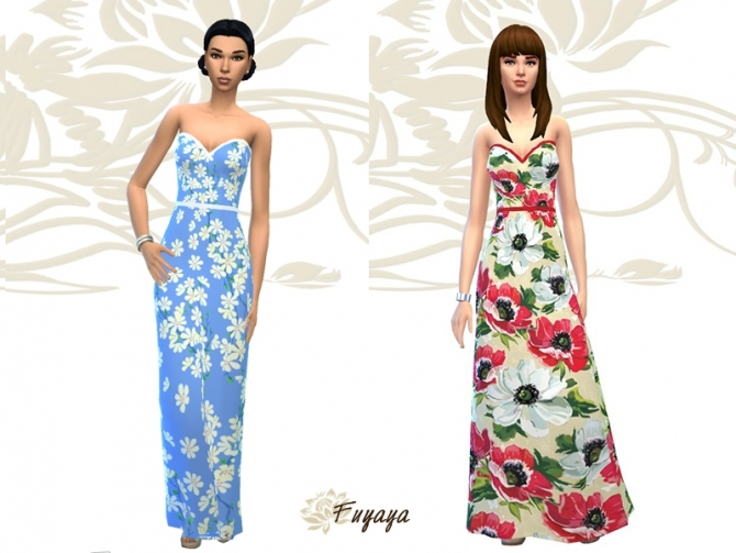 Floral dress by Fuyaya at Sims Artists image 5122 Sims 4 Updates