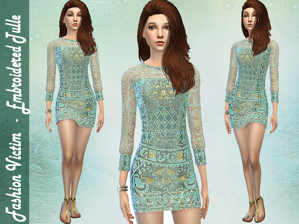 Sims 4 Embroidered Tulle Dress by Fashion Victim at TSR
