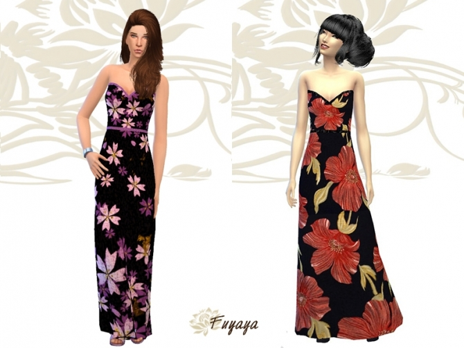 Floral dress by Fuyaya at Sims Artists image 5220 Sims 4 Updates