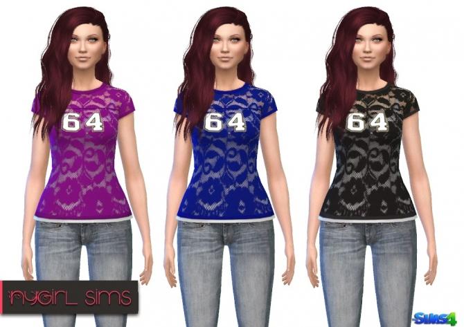 Sims 4 Lace Football Tee at NyGirl Sims
