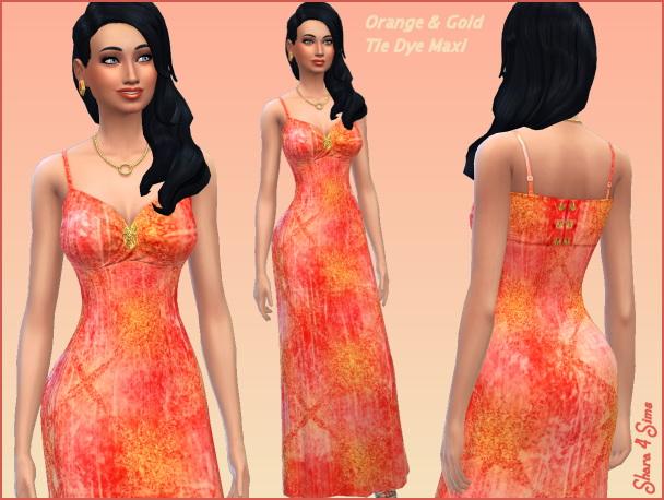 Orange Tie Dye Maxi Dress at Shara 4 Sims image 567 Sims 4 Updates