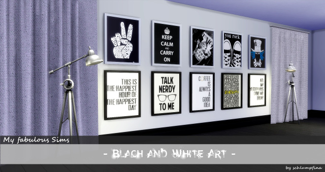 Black and White painting set by schlumpfina at My Fabulous Sims image ...