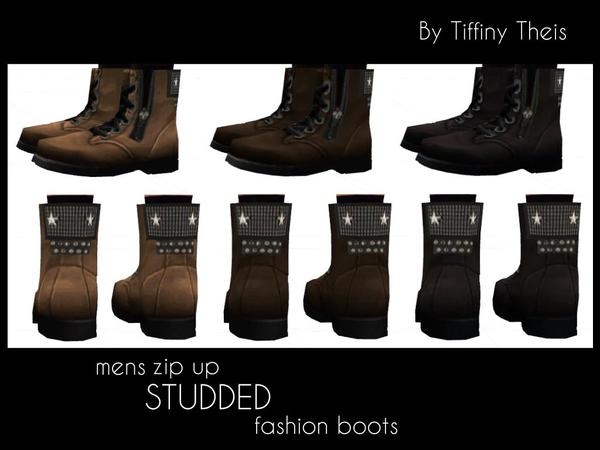Zip Up Studded Fashion Boots by tiffybee at TSR image 613 Sims 4 Updates