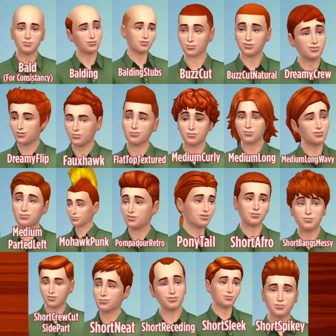 Ginger all male hairs by Caitie at Mod The Sims » Sims 4 Updates