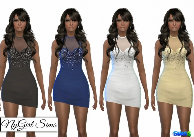 Sims 4 Lace Trim Asymmetric Mini Dress at NyGirl Sims