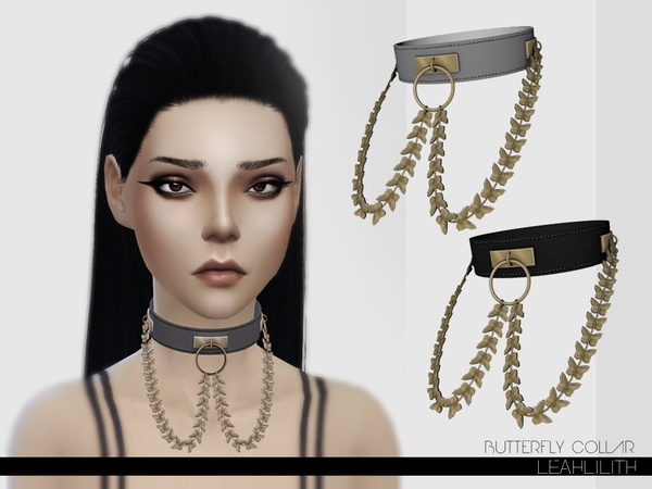 Sims 4 Butterfly Collar by LeahLillith at TSR