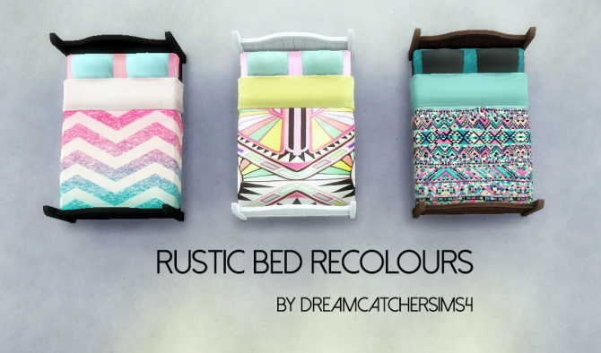 Sims 4 RUSTIC BED RECOLOURS at DreamCatcherSims4