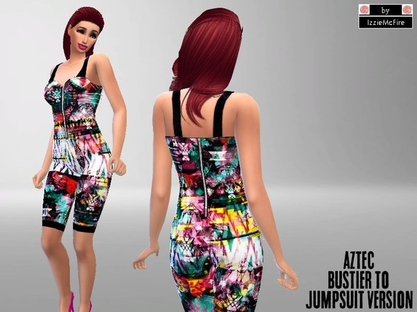 Sims 4 Aztec bustier to jumpsuit by IzzieMcFire at TSR