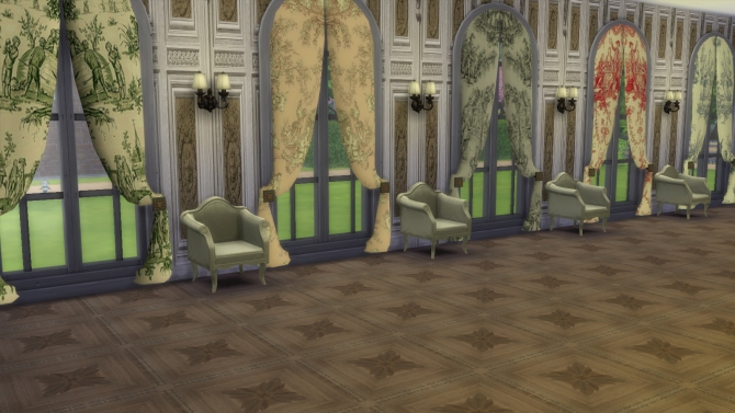 Sims 4 5 Curved Curtains in Toile de Jouy at Meinkatz Creations