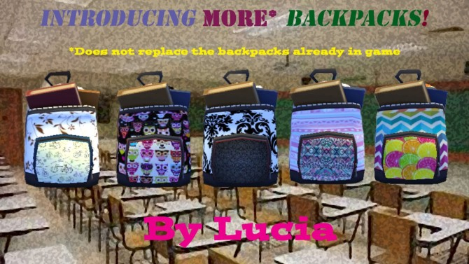 Sims 4 Five New Girly Backpacks by Melons at Mod The Sims
