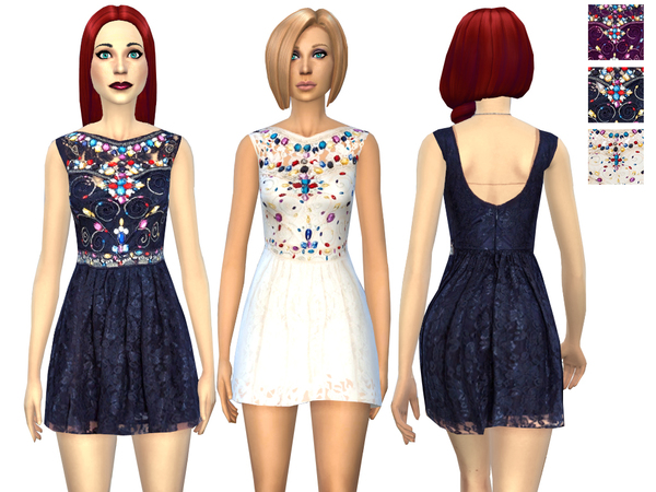 Sims 4 Embellished Lace Prom dress by Weeky at TSR