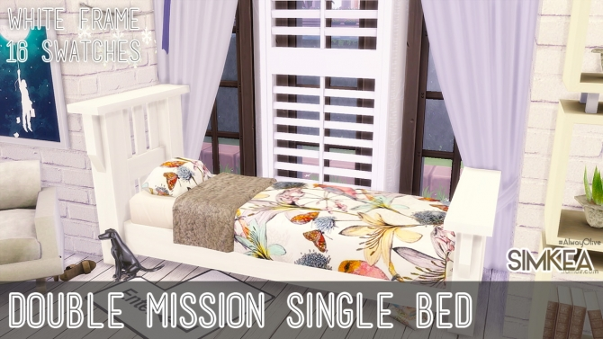 Double Mission Single Bed White Frame at Simkea image 8520 Sims 4 Updates