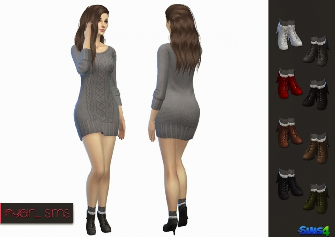 High Heel Boot with Lace Trim Knitted Sock at NyGirl Sims image 9114 Sims 4 Updates